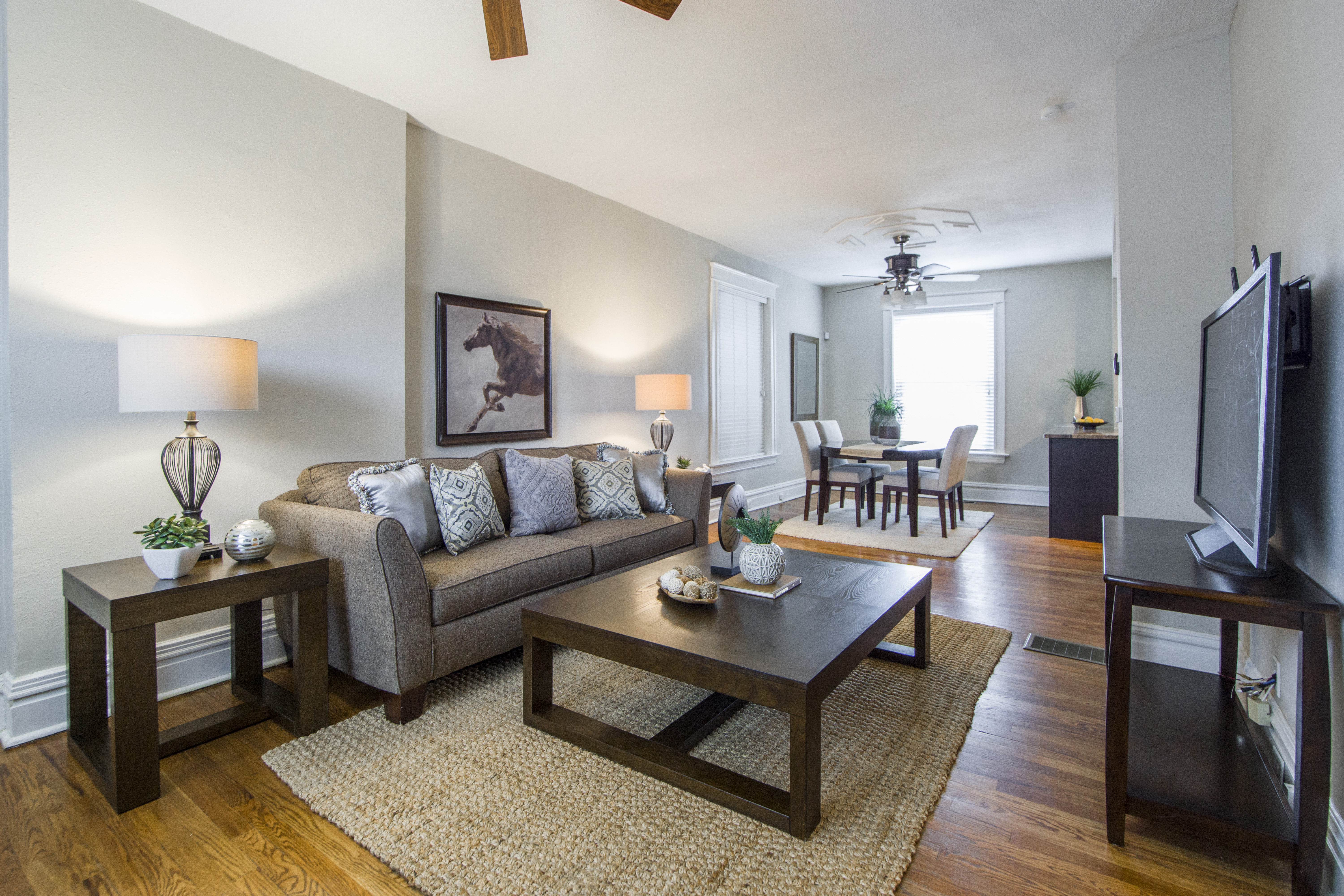 Living Room With Tv, Coffee Table And Sofa