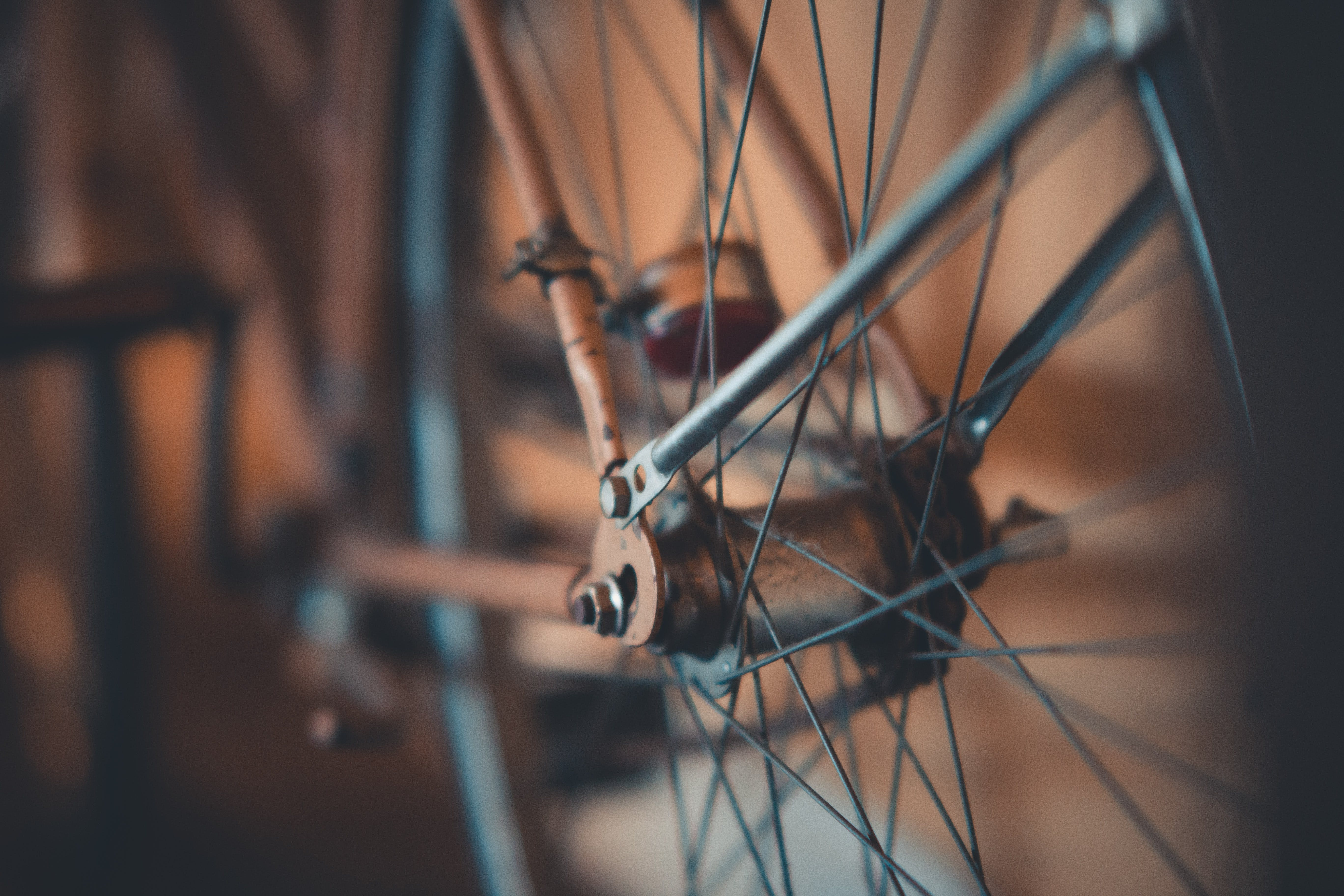 Selective Focus Photography of Bicycle Wheel