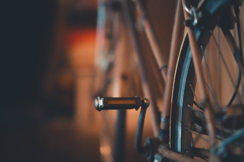 Selective Focus Photography of Bicycle Pedal