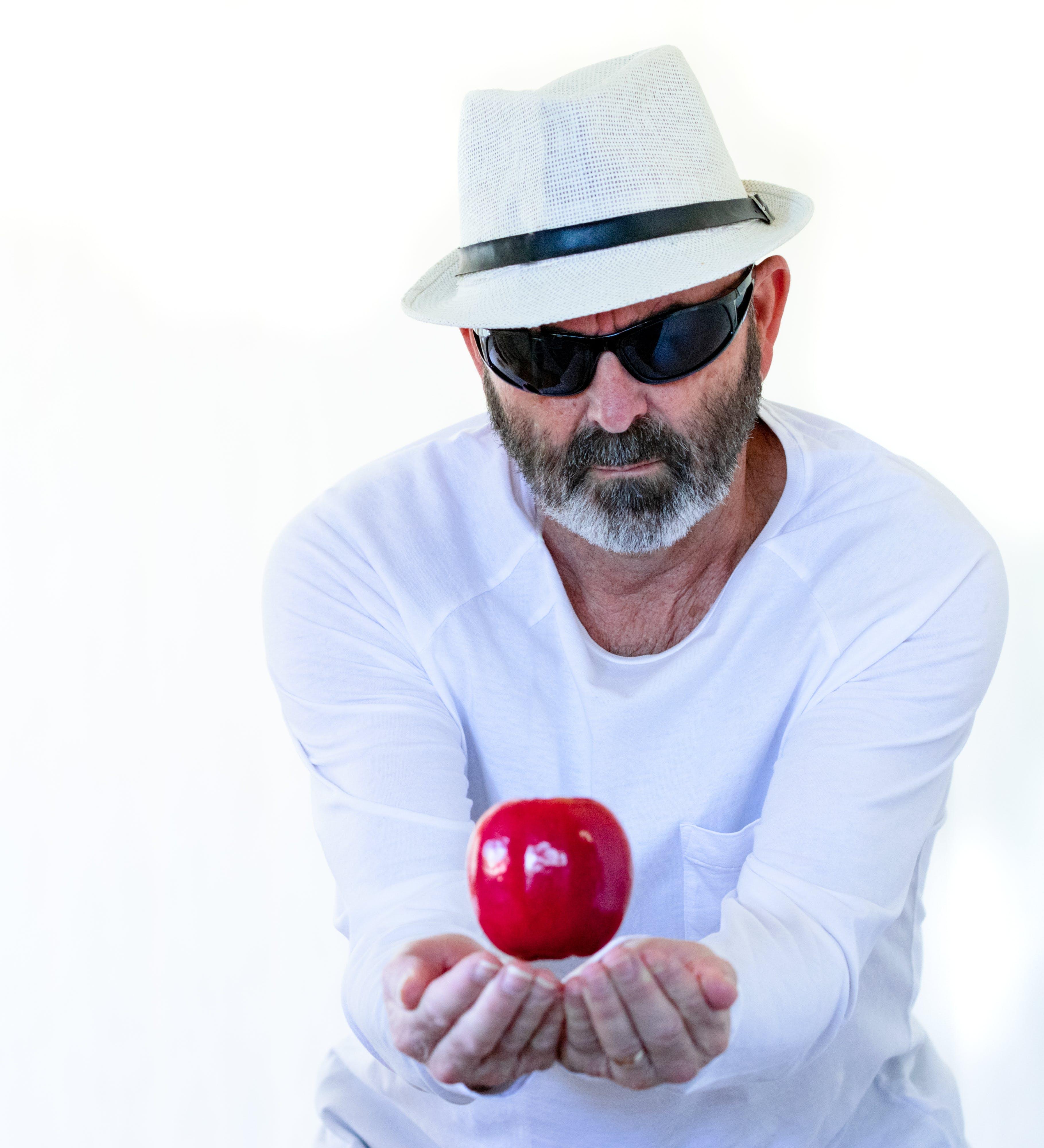 Free stock photo of apple, bearded, catch, cricket
