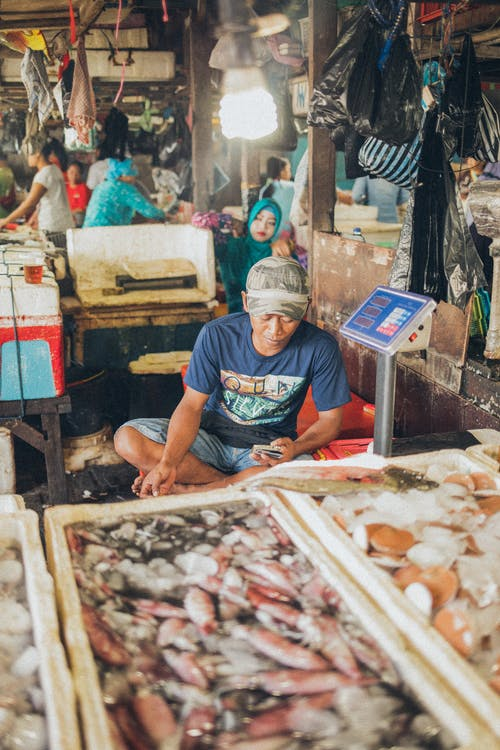 Man At Seafood Market