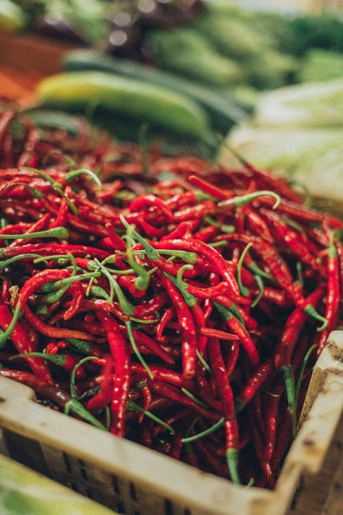 Selective Focus of Red Chilies