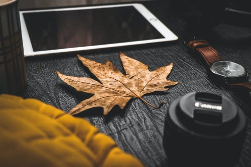 Ipad, Maple Leaf, Canon Lens and Watch Placed on Black Wooden Table