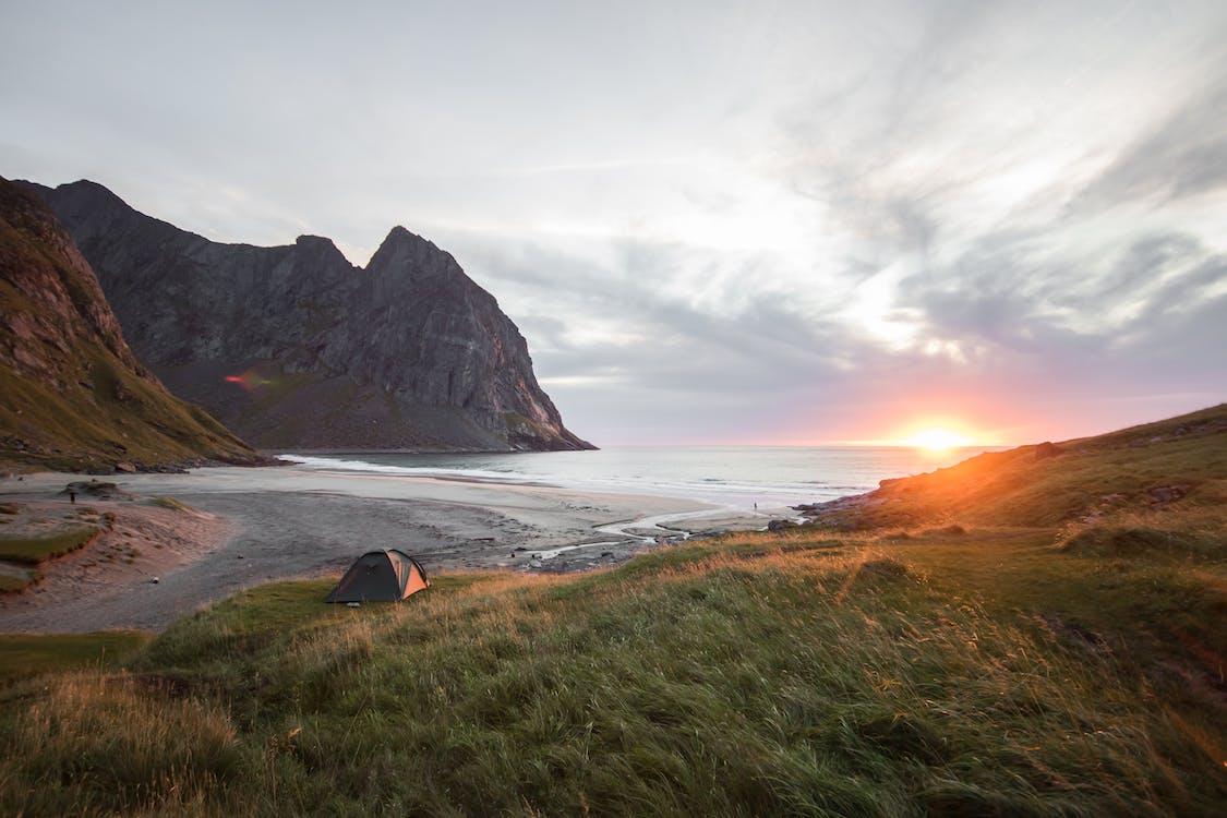 berg, camping, fredlig
