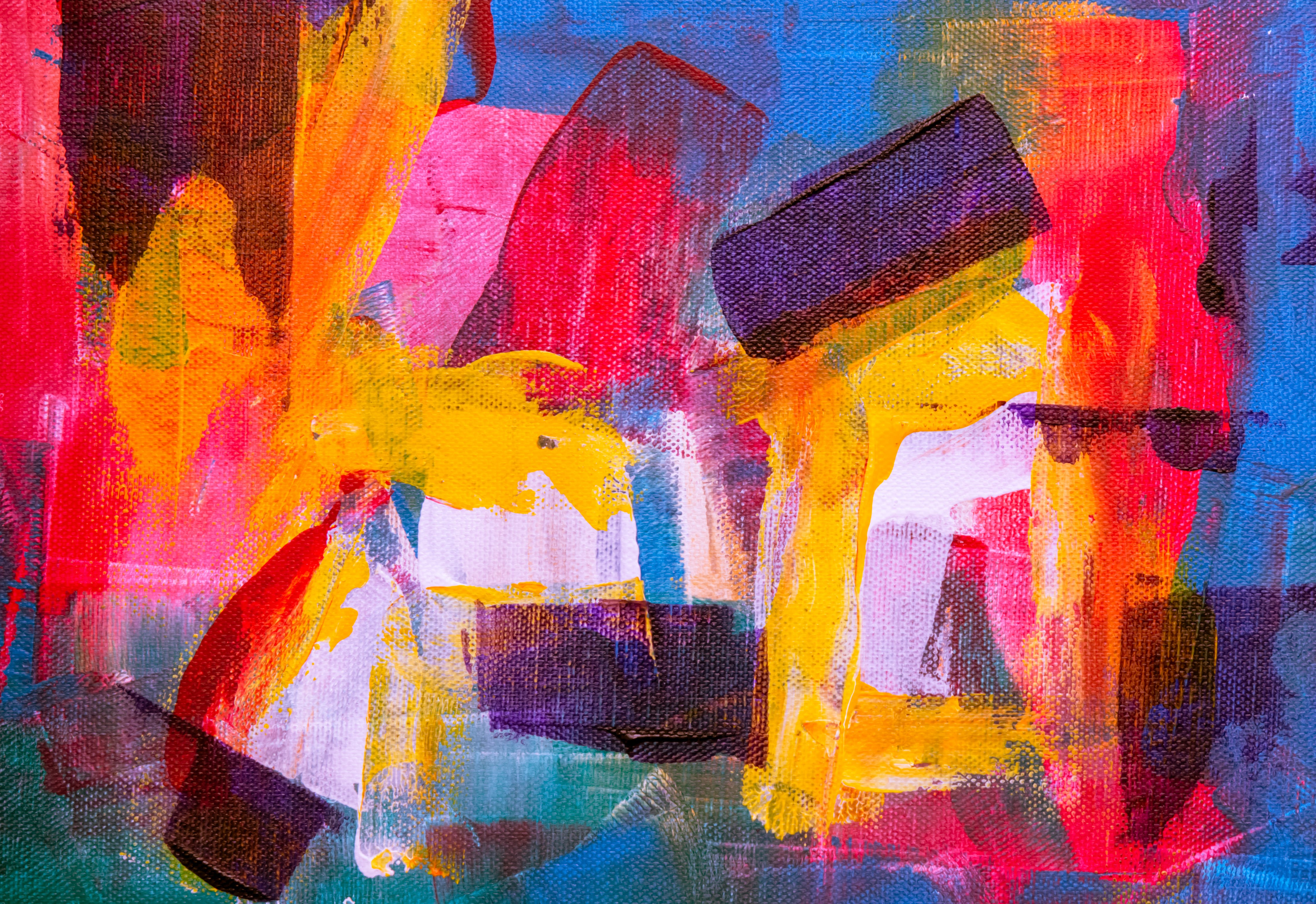 Red, Purple, and Blue Abstract Painting