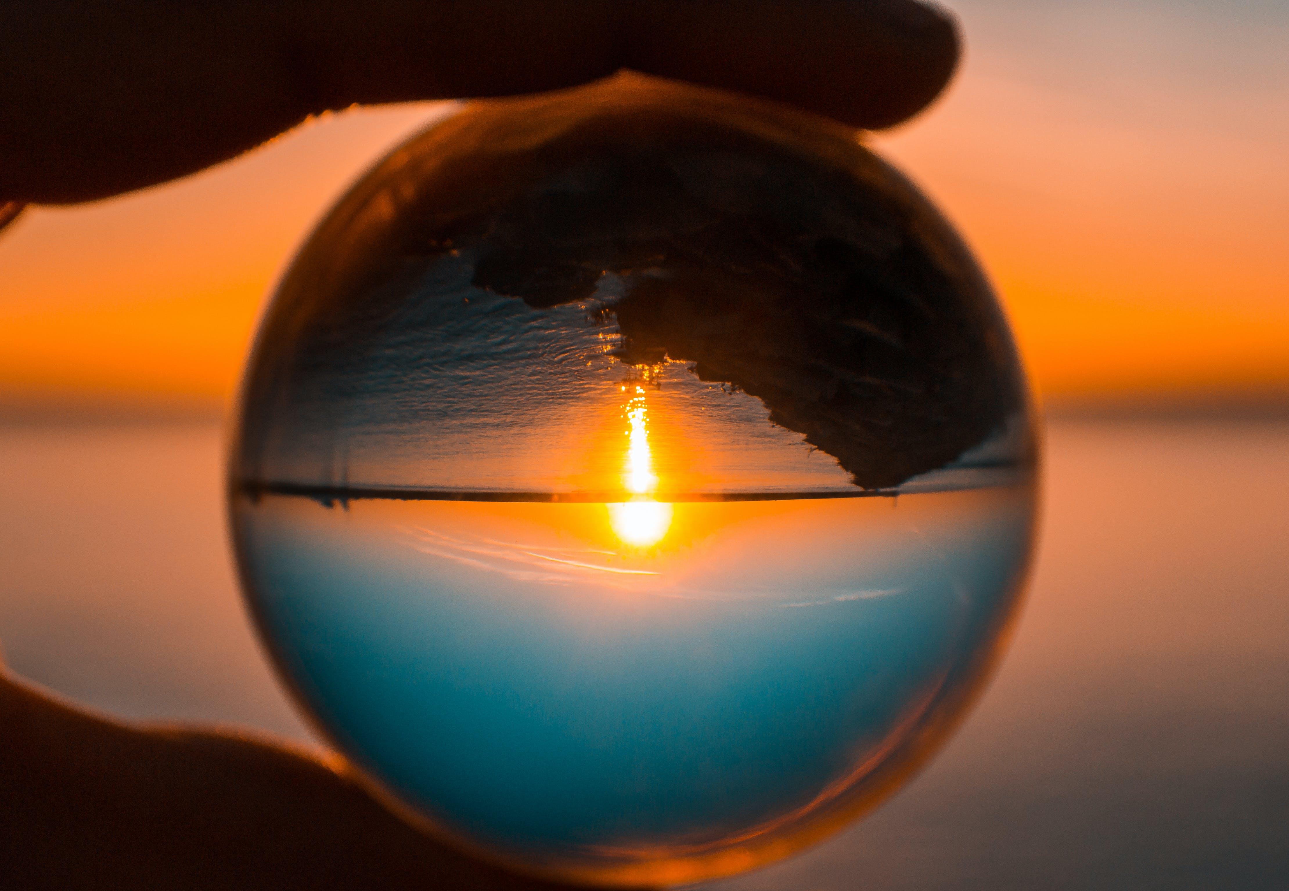 Foto stok gratis Lensball, matahari terbenam, matahari terbenam di pantai