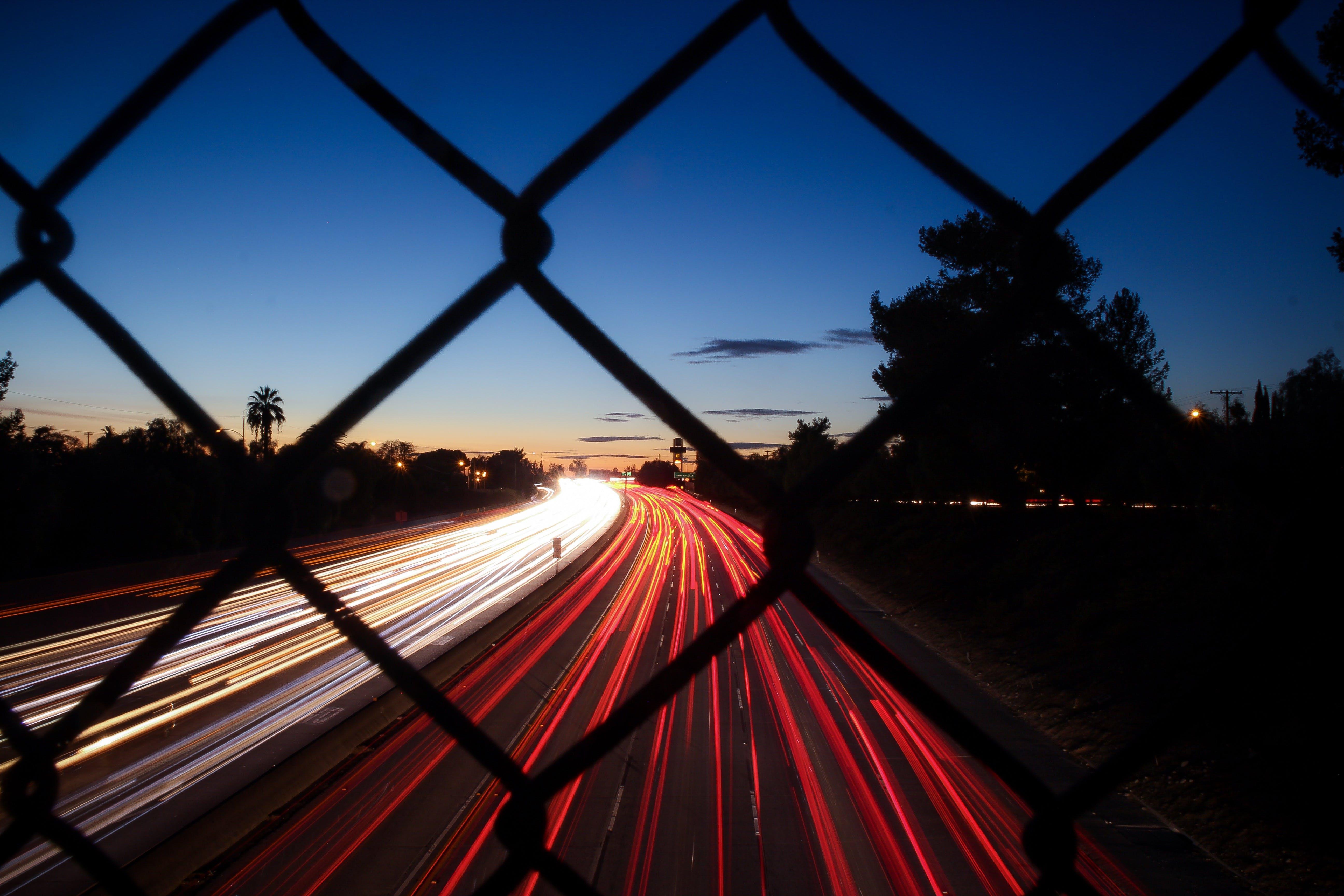 time lapse, αλυσίδα-σύνδεση φράχτη, αστικός