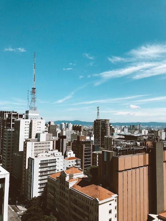 alto, architettura, cielo azzurro
