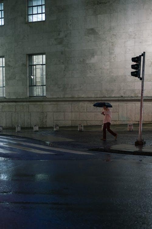 Woman in Red Dress Walking on Street