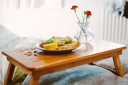 Food on Plant on Wooden Bed Tray