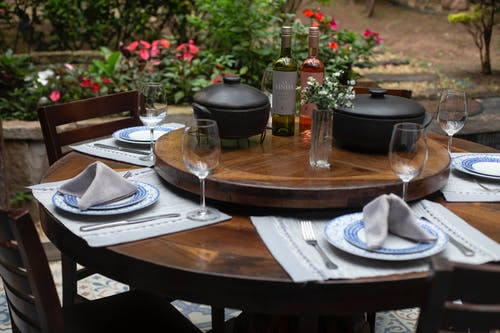 Dining Table Set With Plates, Water Goblet and Two Cooking Pots