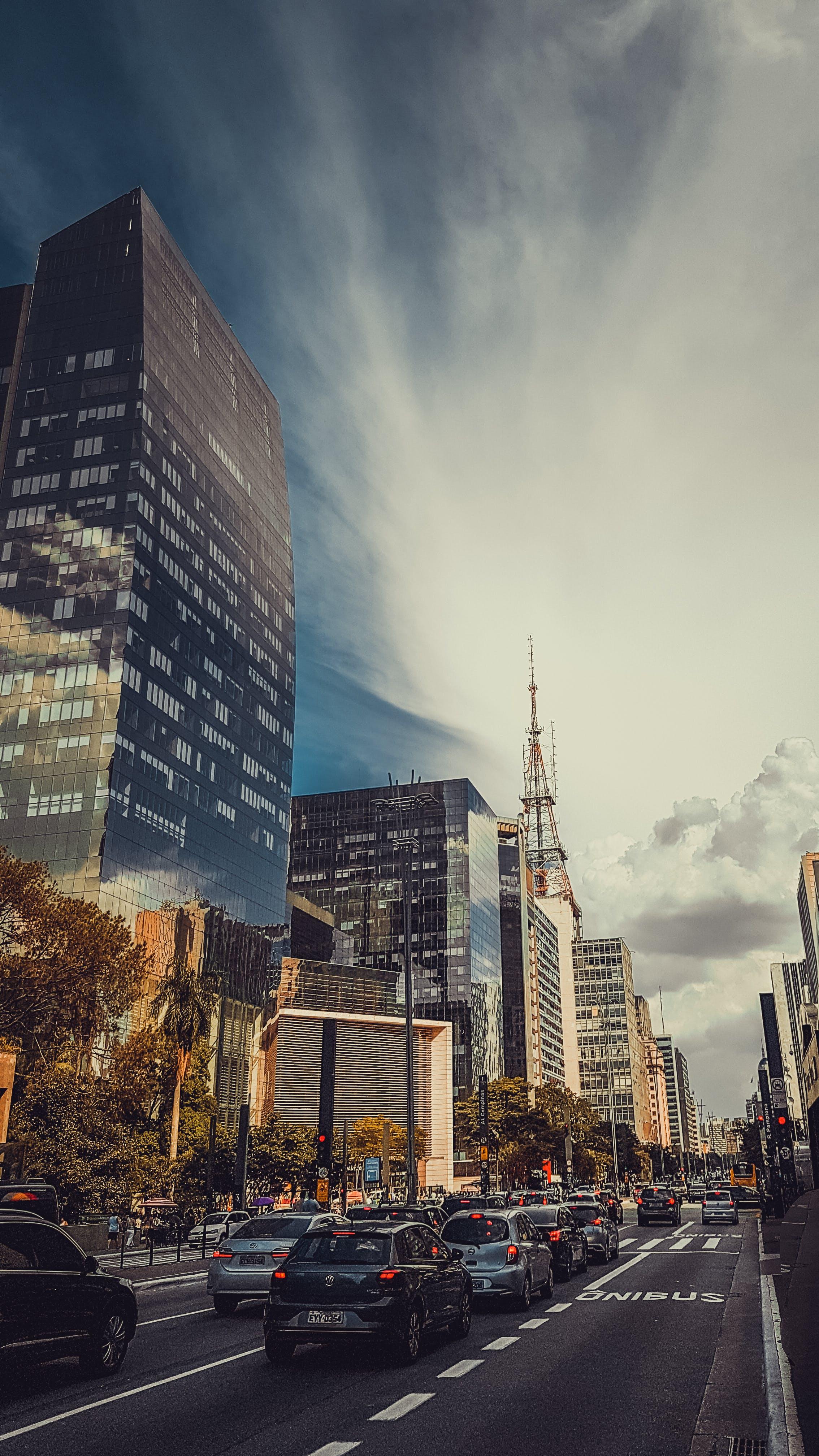 blue sky, cars, city
