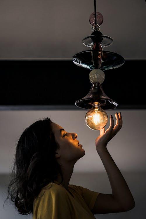 iluminado, lâmpada, leve