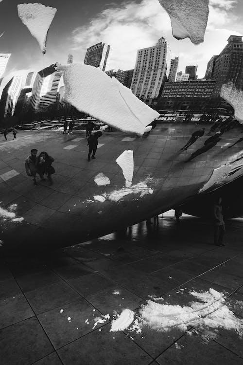 Foto profissional grátis de Chicago, o feijão, P&B, portal das nuvens