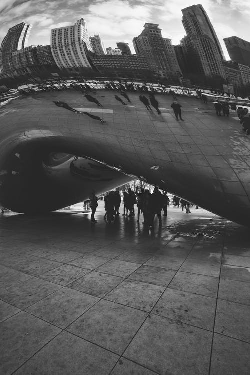 People Under Cloud Gate At Chicago Usa