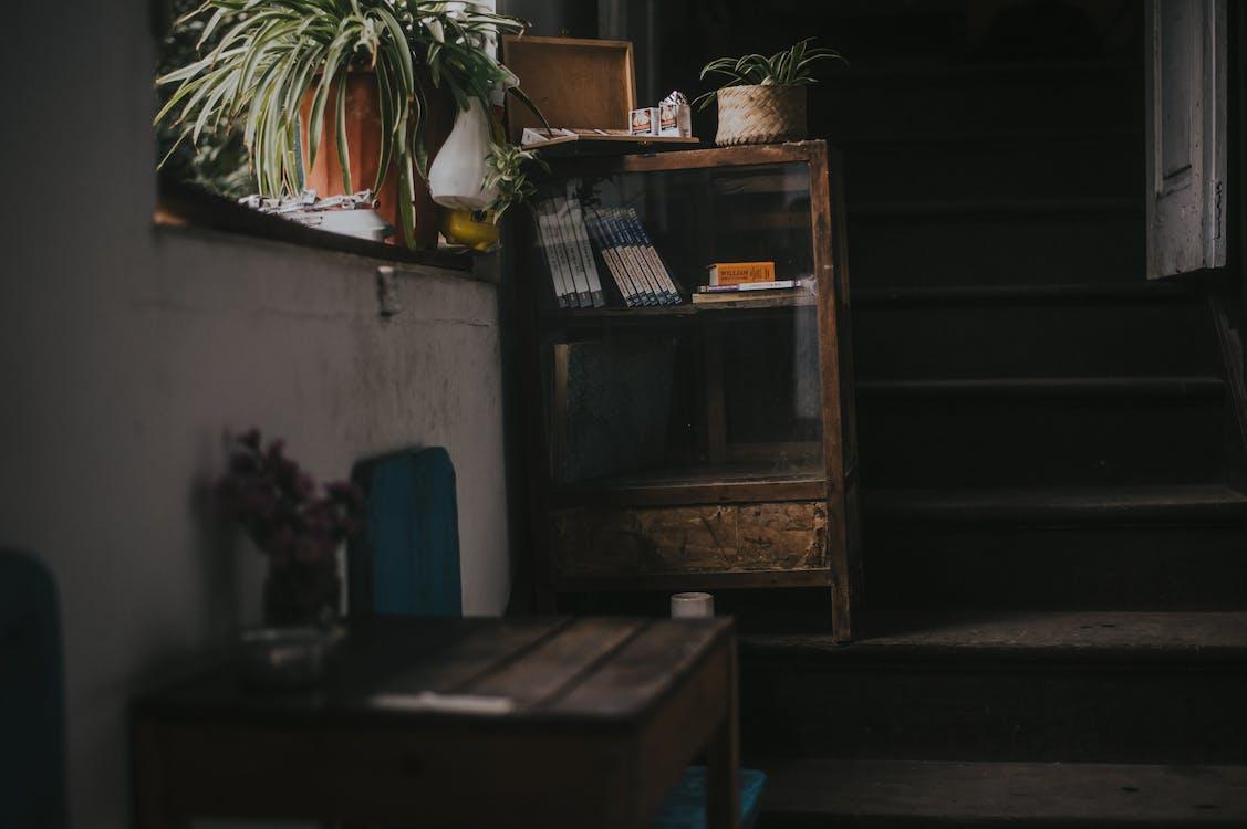 adentro, asiento, de madera