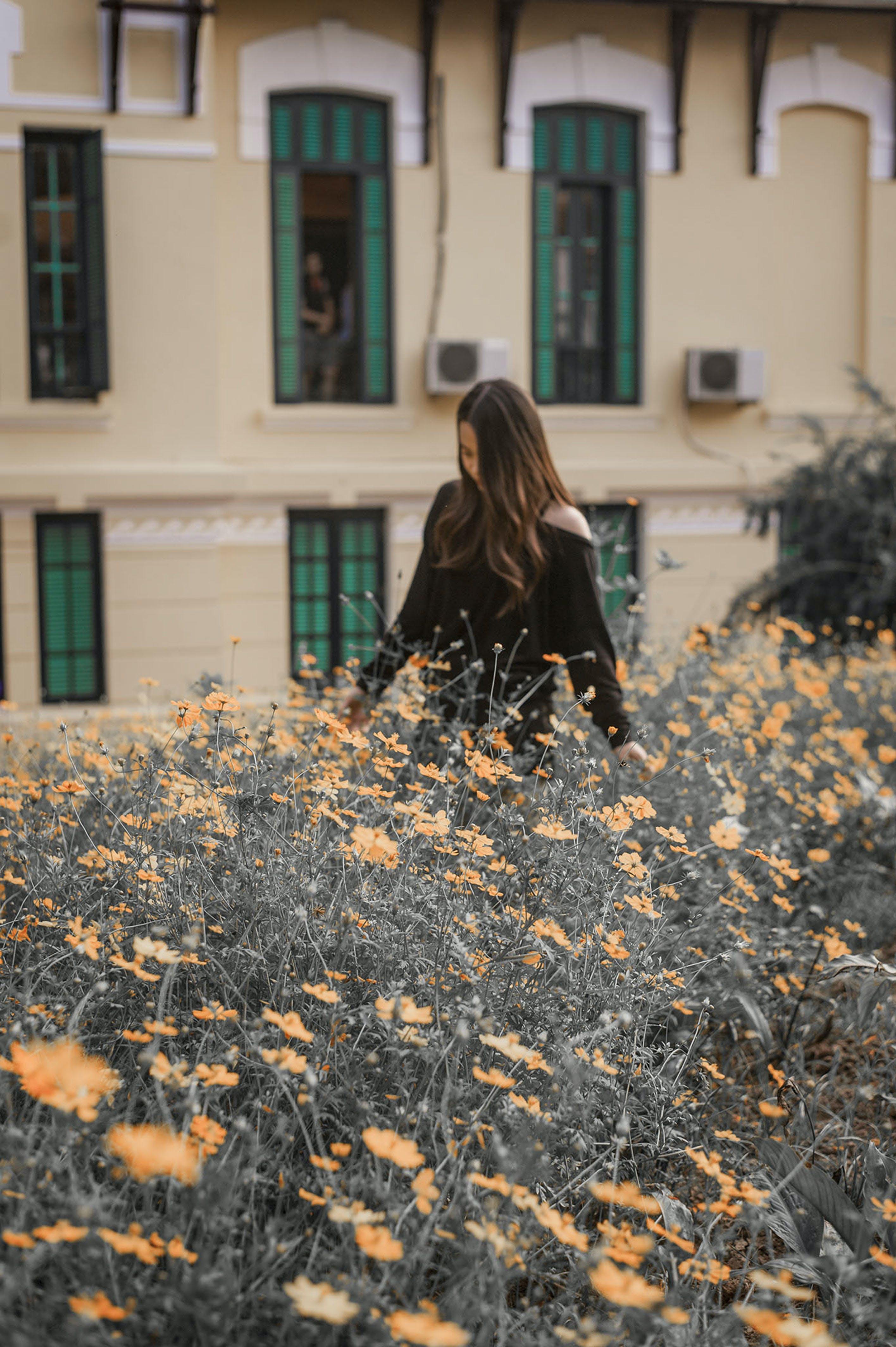 Woman Walking Near Flower Field