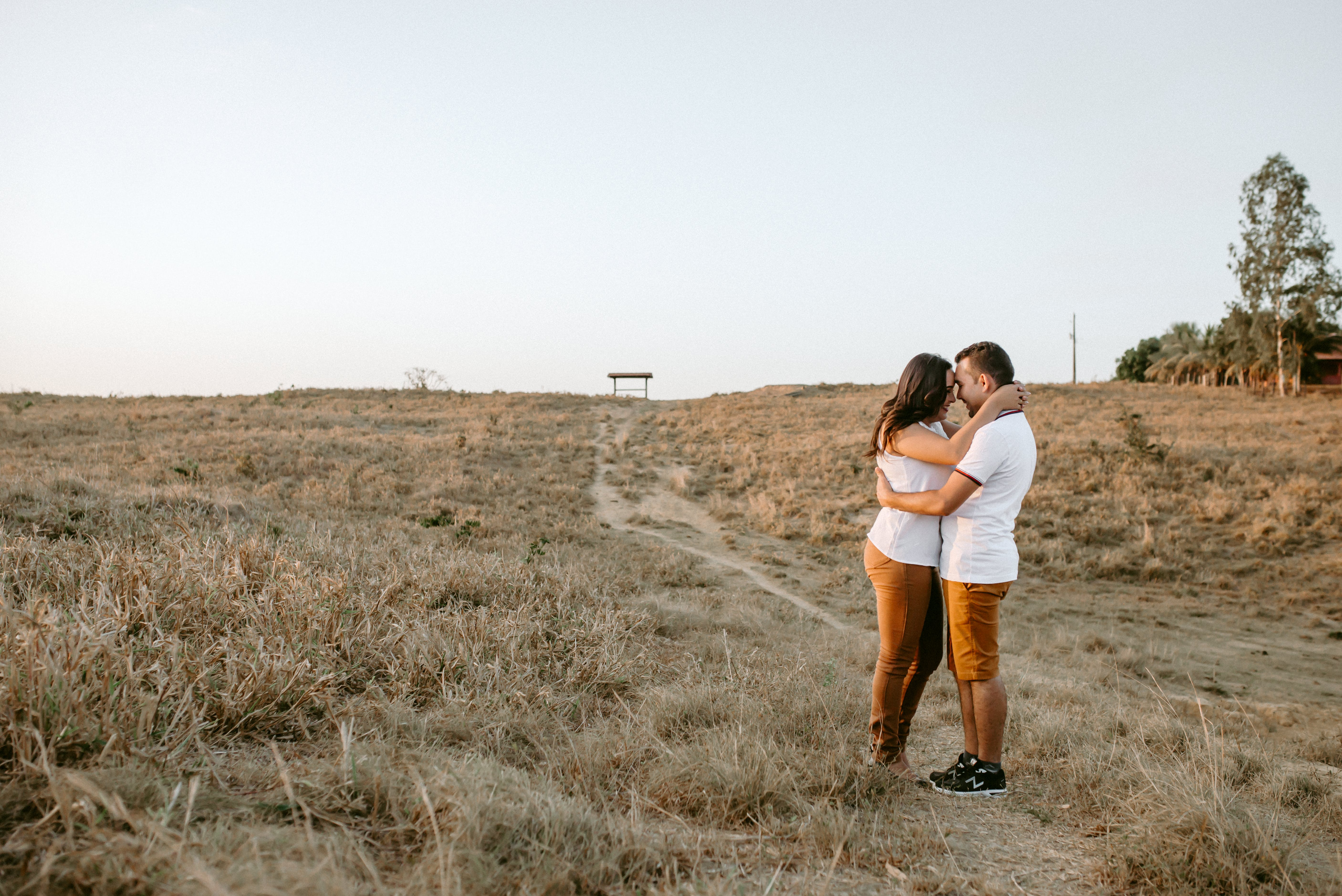 Couple Hugging At Brown Grass Field