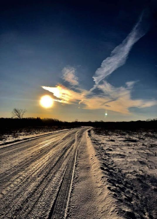#snow #winter #road #sunset #sky #minnesota