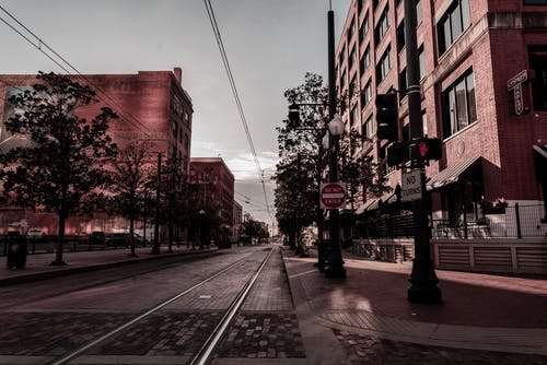 Empty Road With Buildings