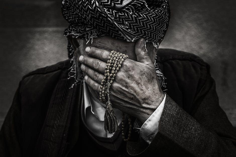 black-and-white, crying, elderly
