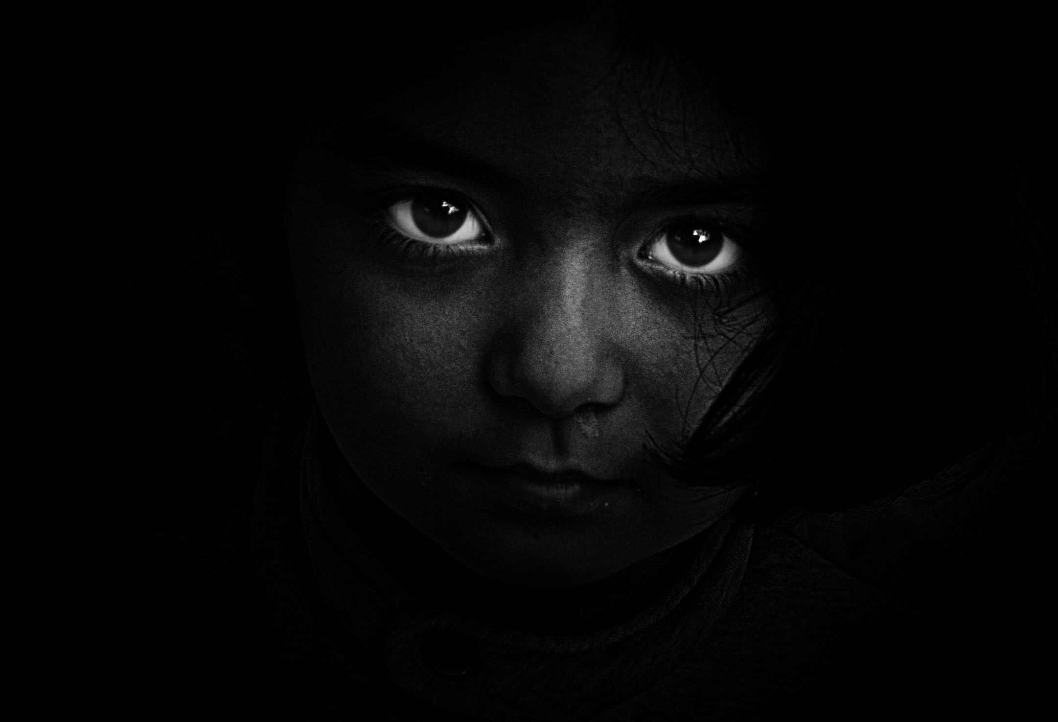 Free stock photo of black-and-white, person, dark, girl