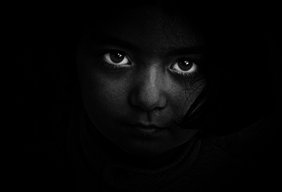 black-and-white, dark, eyes