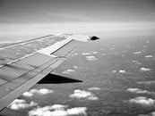 black-and-white, sky, flying