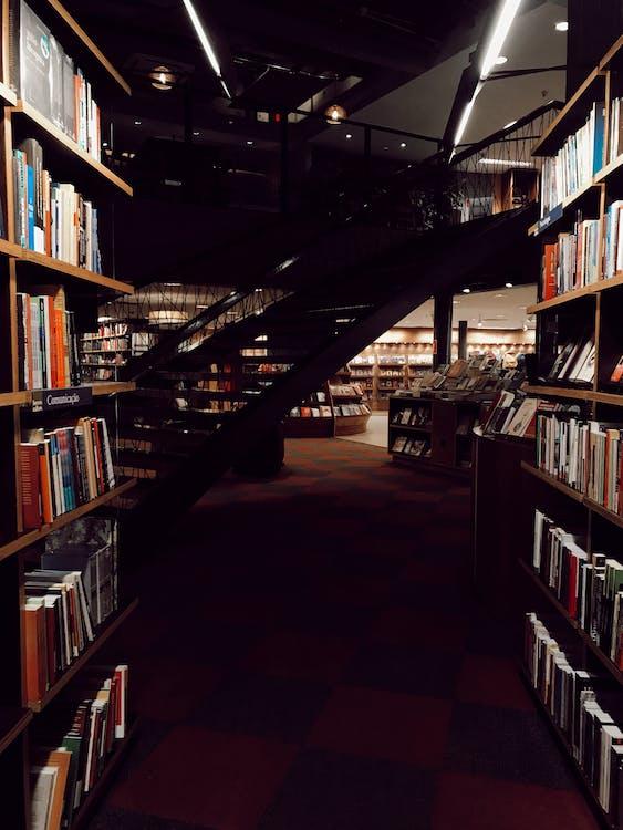 bibliotheek, binnen, binnenshuis