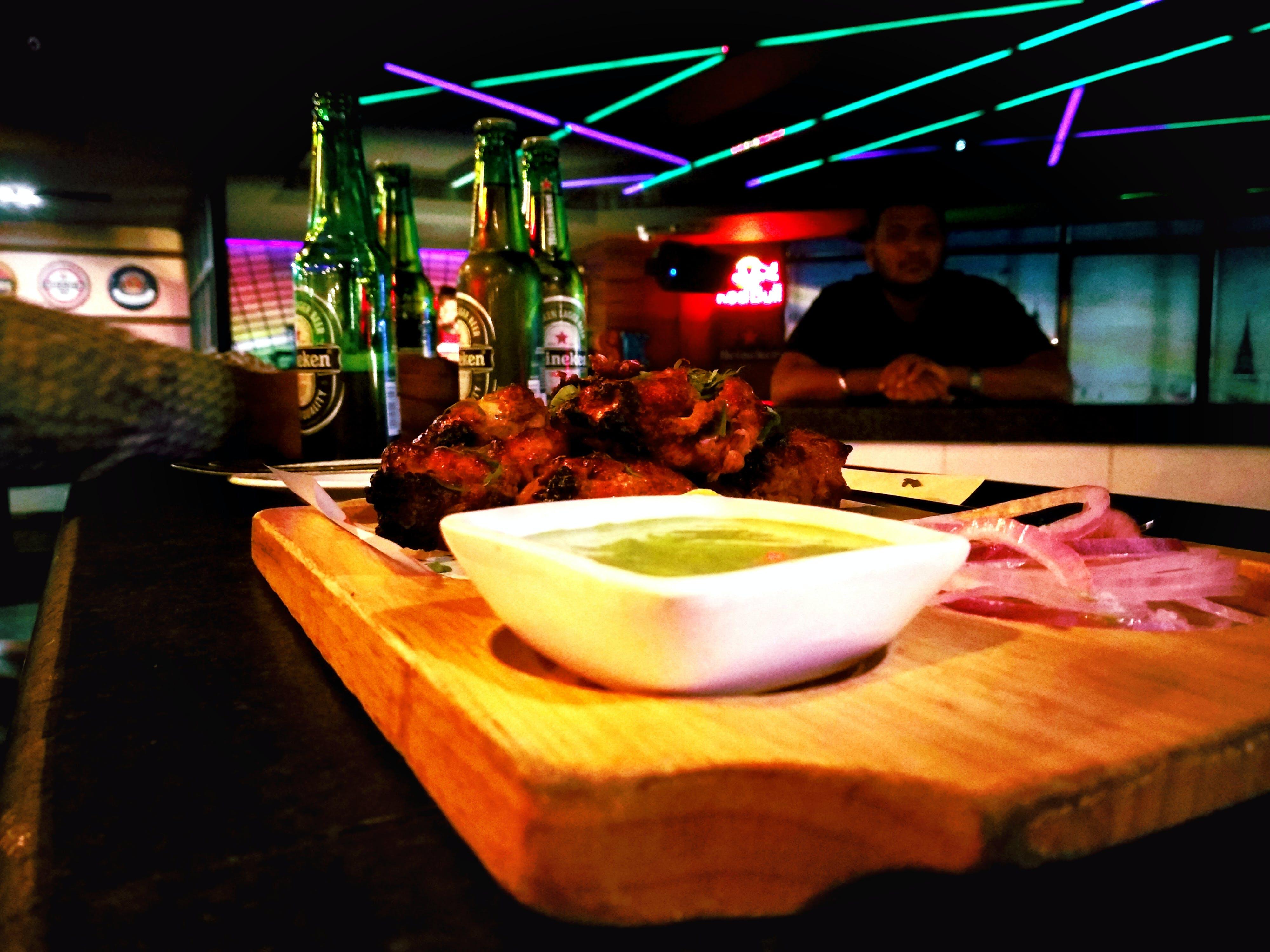 Free stock photo of backlight, bar, beer bottles, chicken