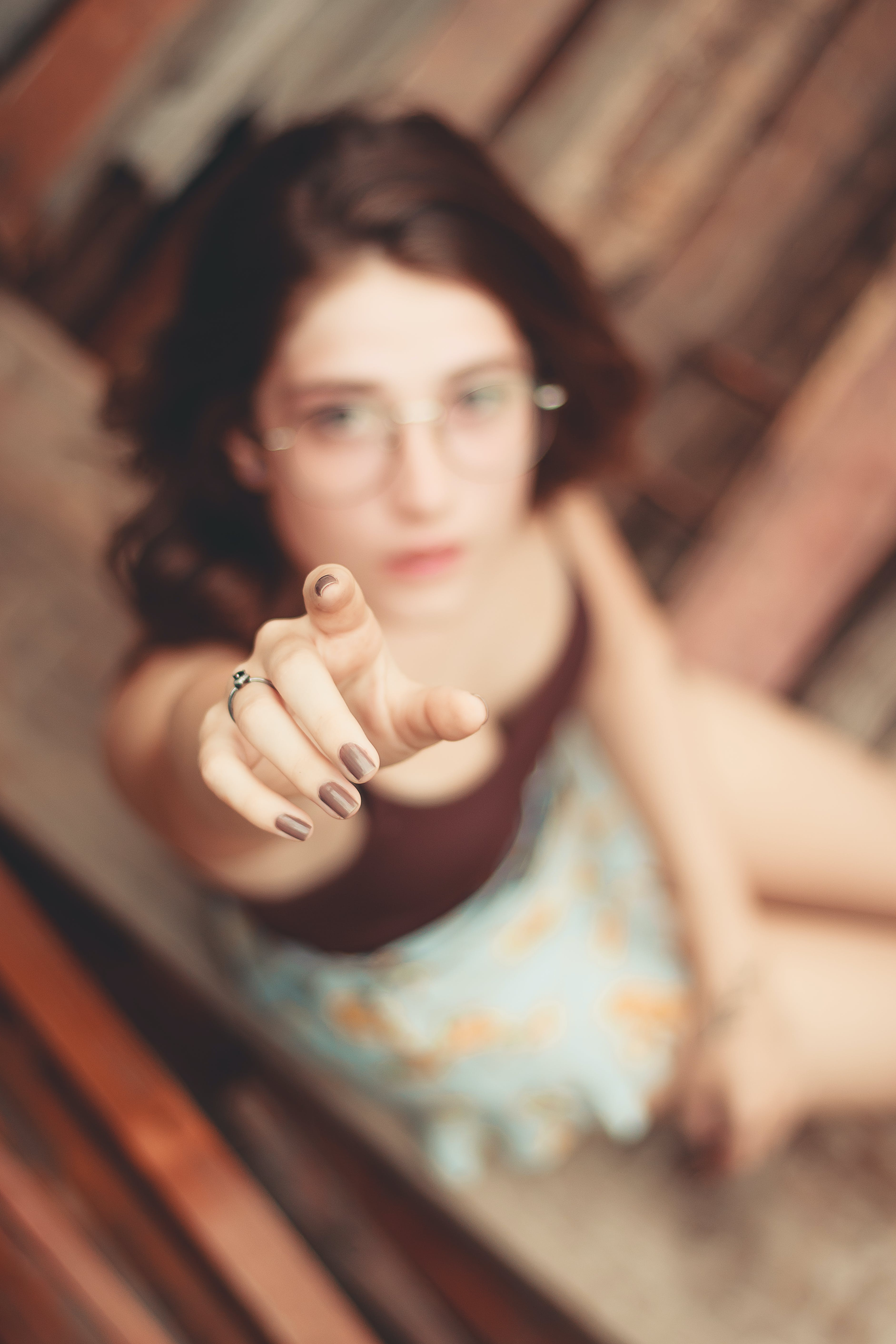 Woman Pointing Up Her Right Finger