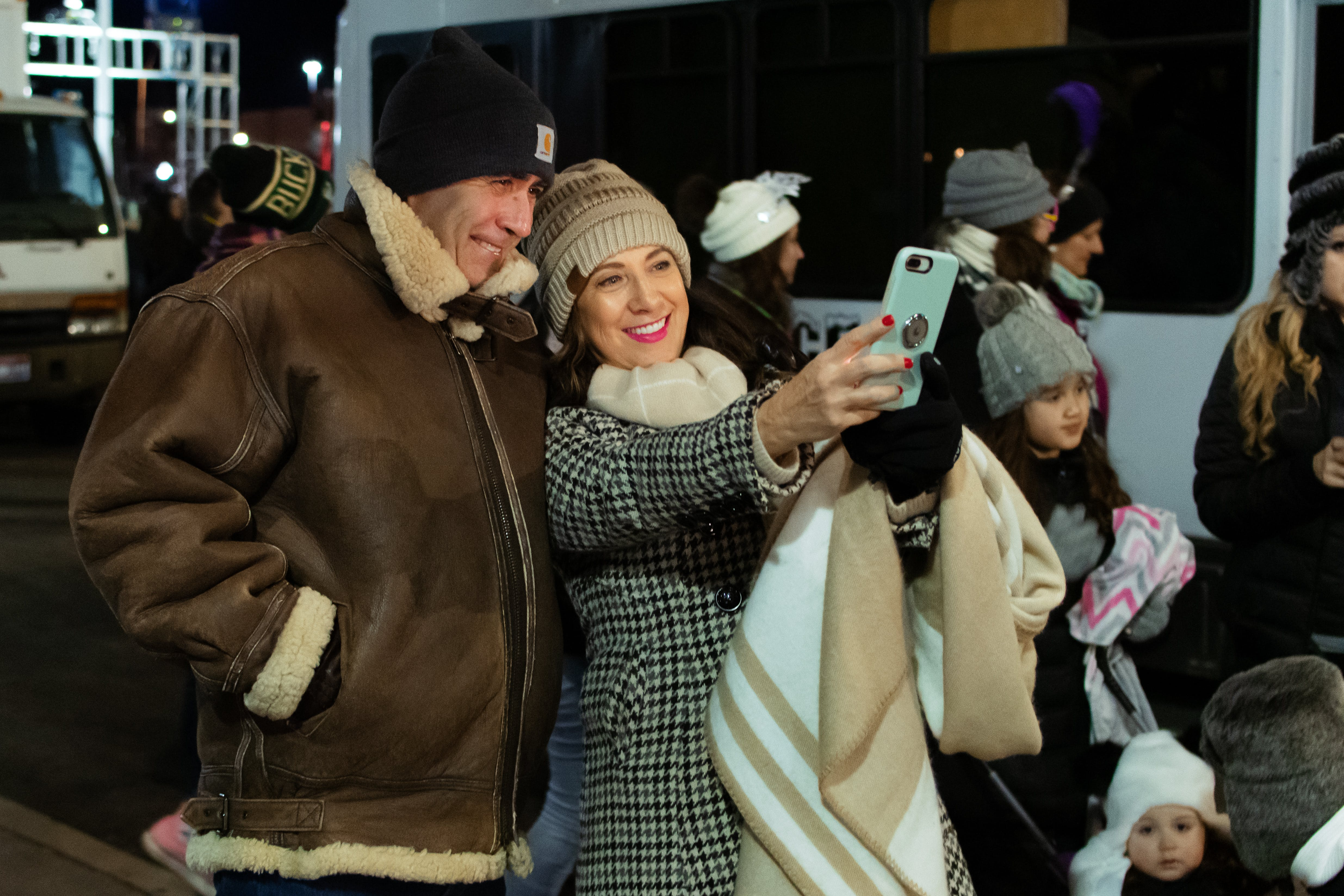 Selective Focus Photography of Man and Woman Posing for Selfie