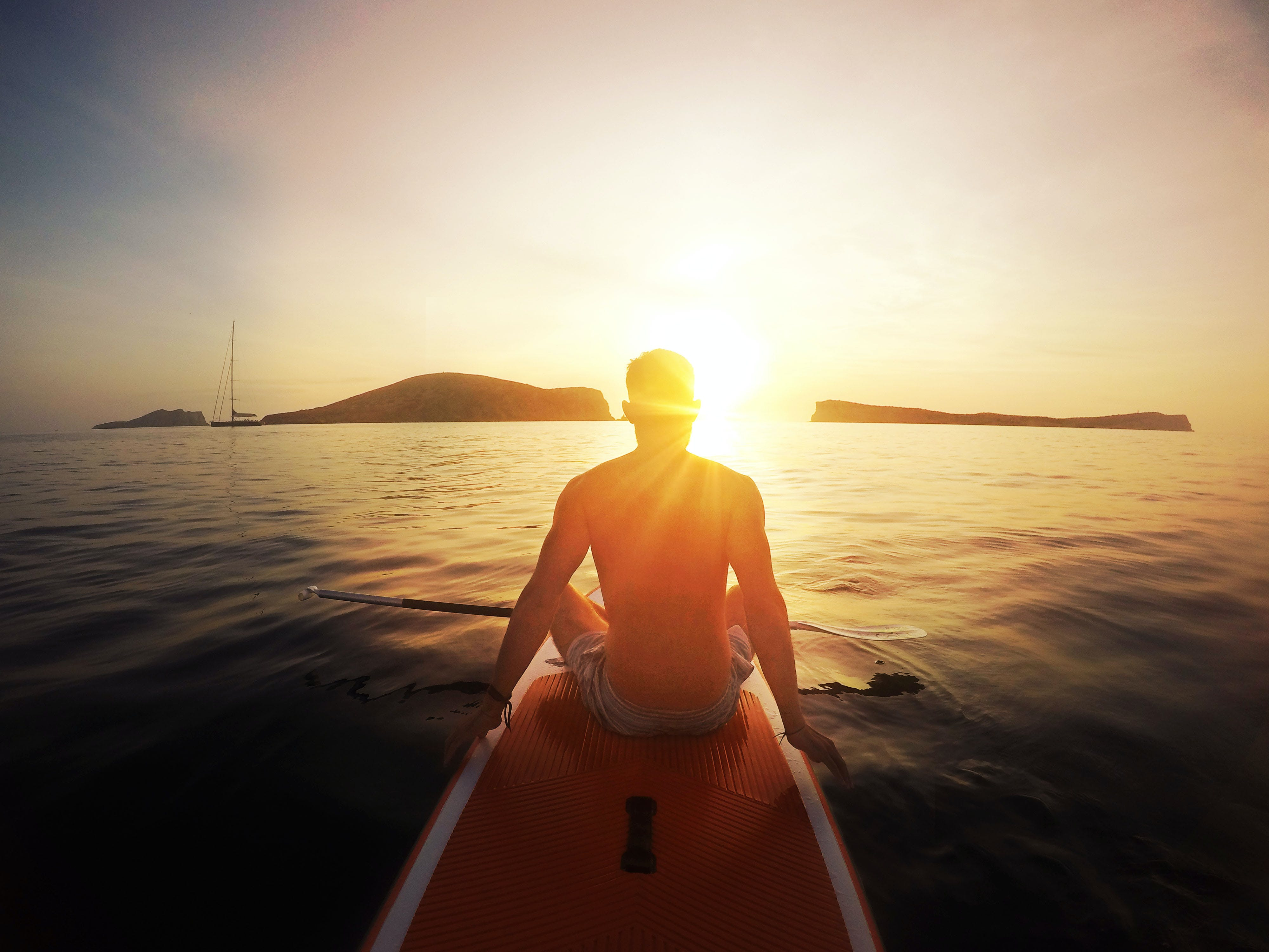 Free stock photo of calm, calm waters, Ibiza, man