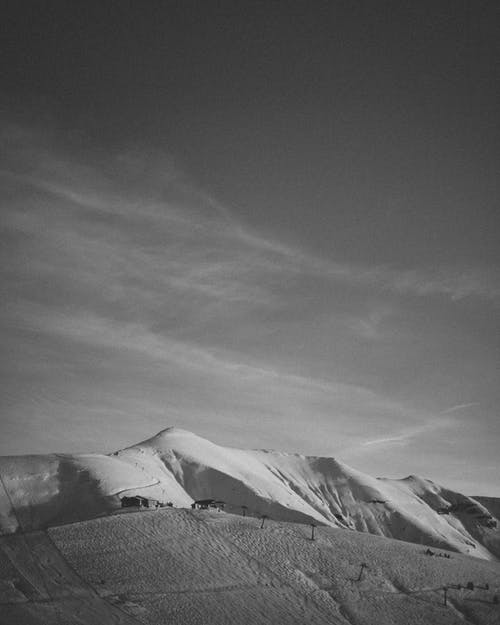 Monochrome Photo of Mountains