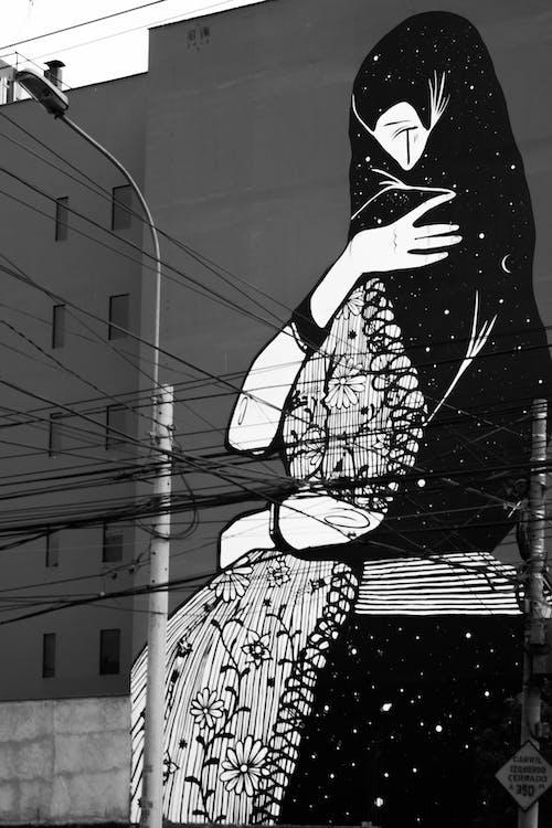 Kostenloses Stock Foto zu elektrische leitungen, schwarz und weiß, straßenkunst, wände