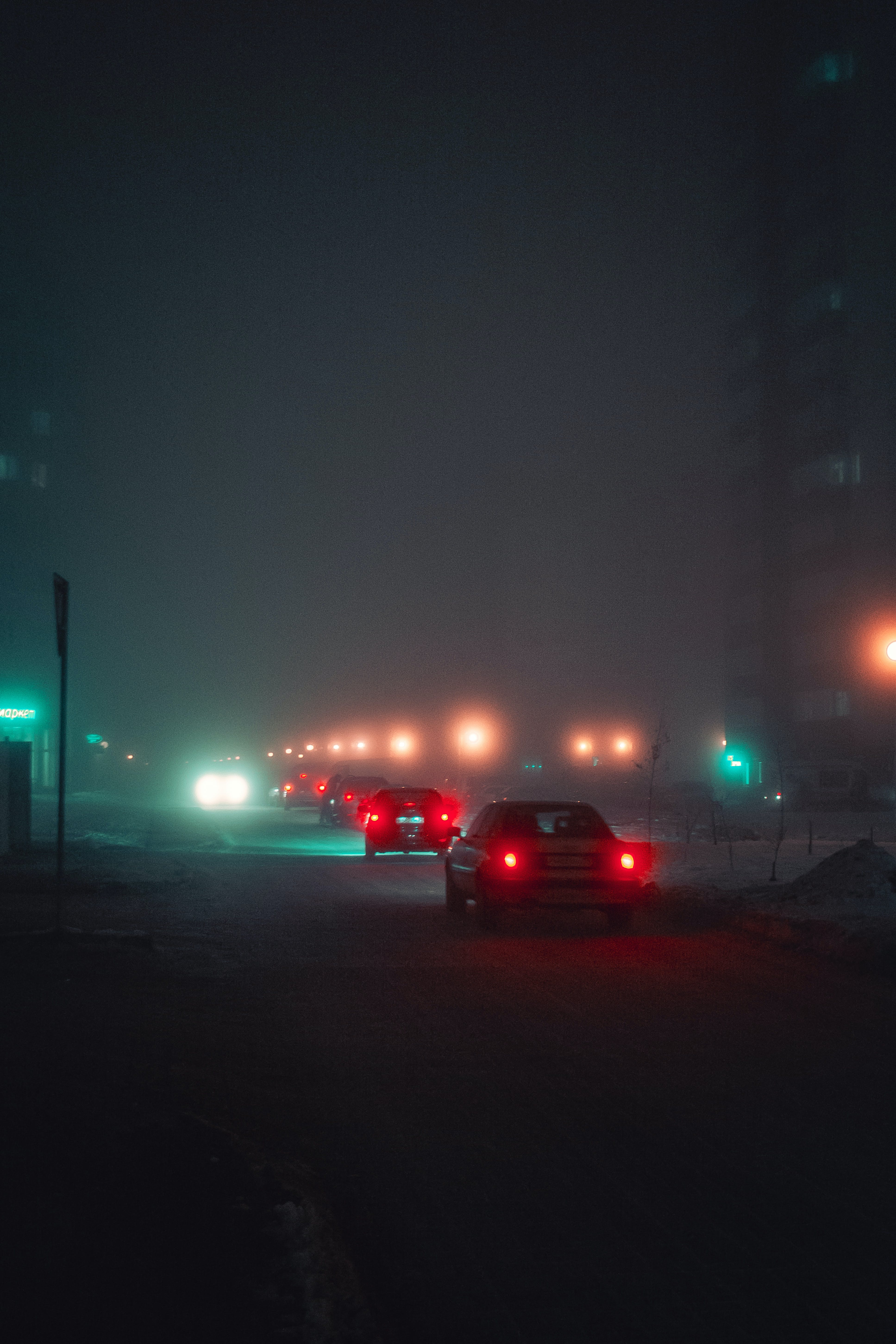 Cars on Roadway during Nighttime