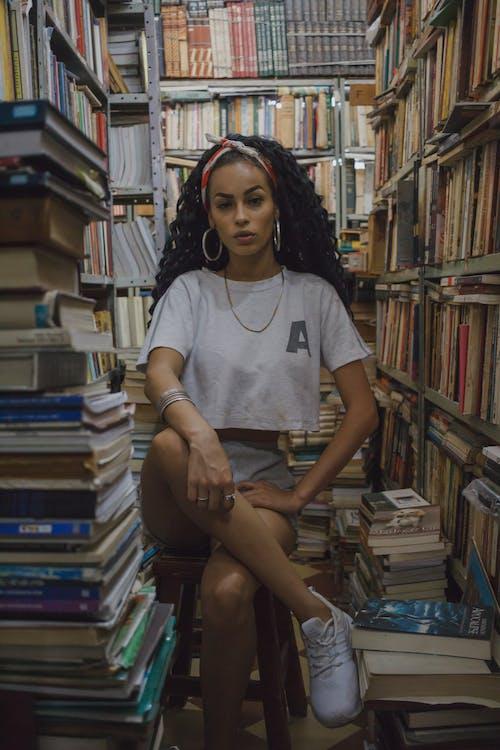 adulto, azione, biblioteca