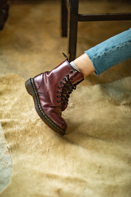 Close Up Photography of Brown Leather Work Boot