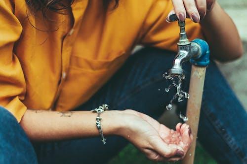 물, 사람, 수도꼭지, 여성의 무료 스톡 사진