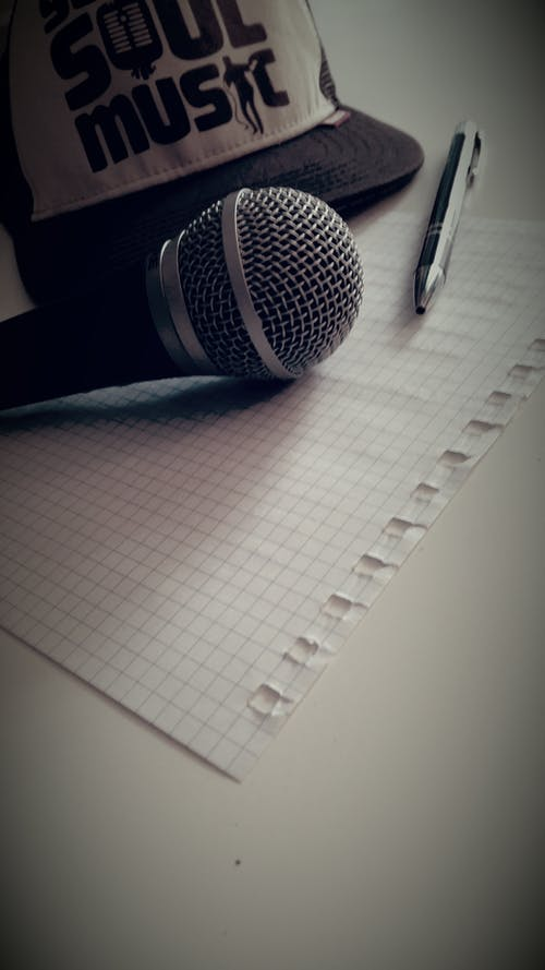 Microphone Near Click Pen Near Graphing Paper