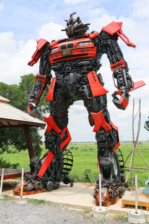 Red and Black Robot Statue