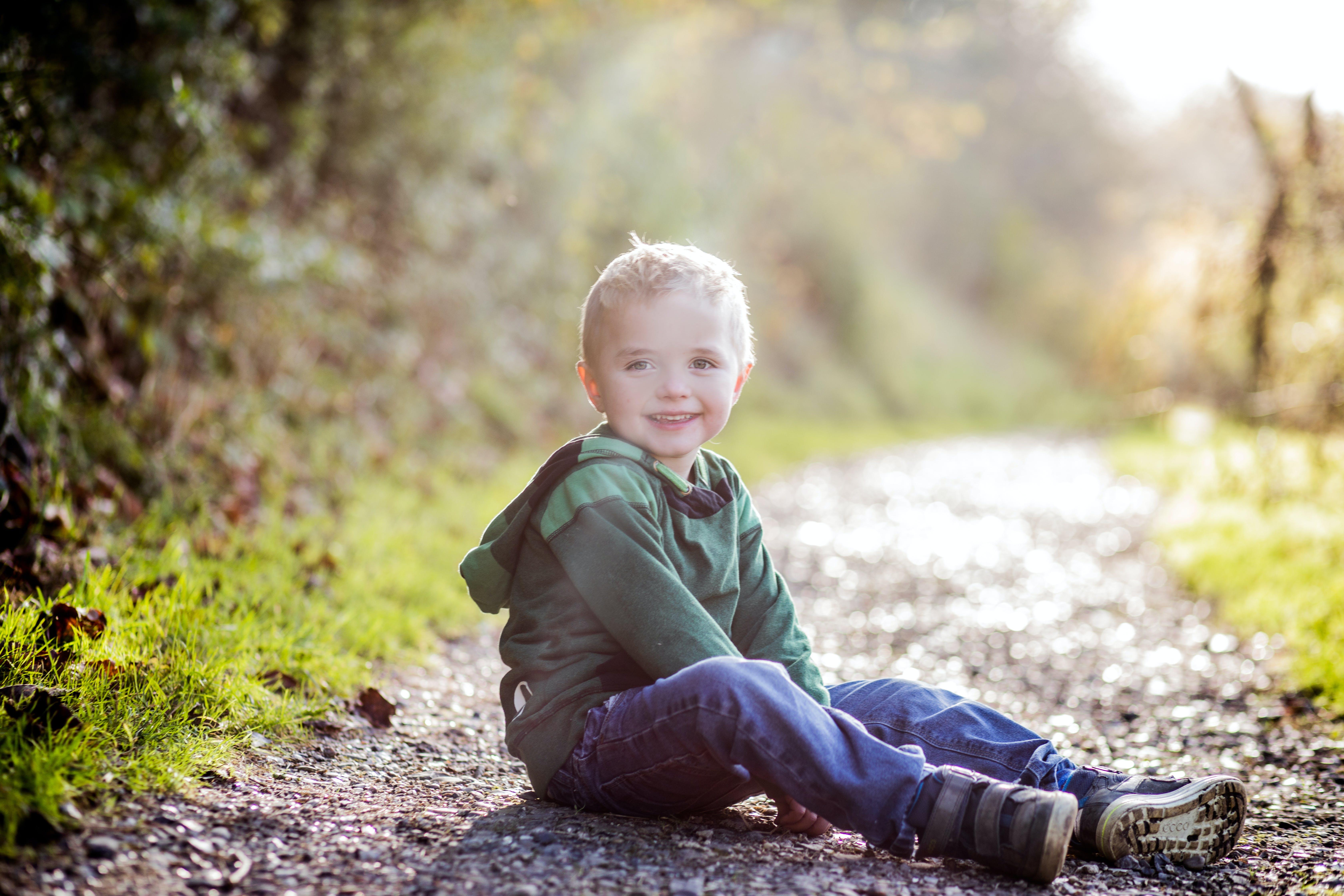 Boy Sitting On Ground