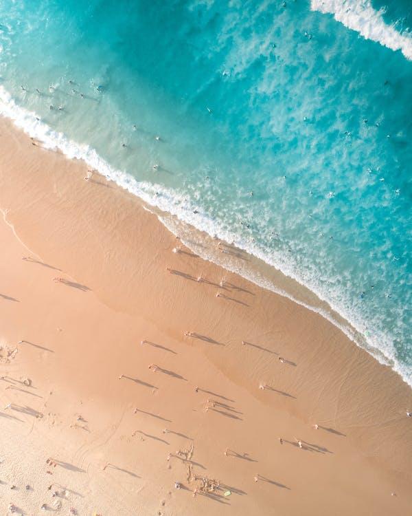 à beira-mar, aerofotografia, água