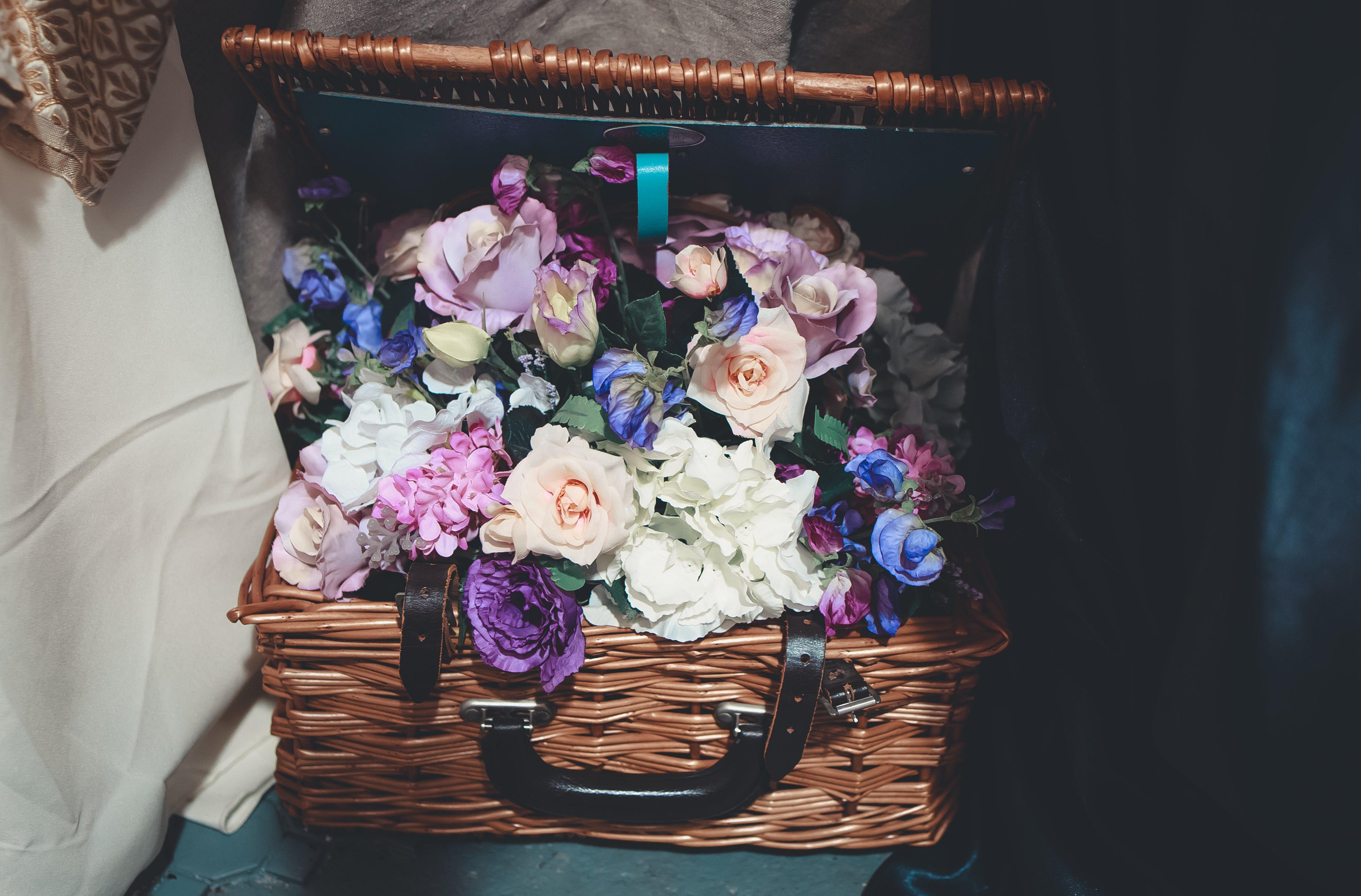 Flowers Inside Brown Wicker Basket
