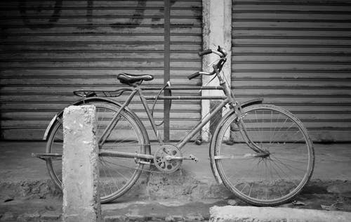 Free stock photo of bicycle, black and white, bw, empty street