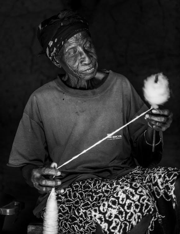 algodón, anciano, blanco y negro
