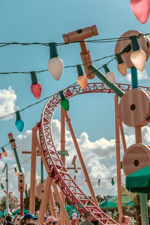 String Lights Near Roller Coaster Track