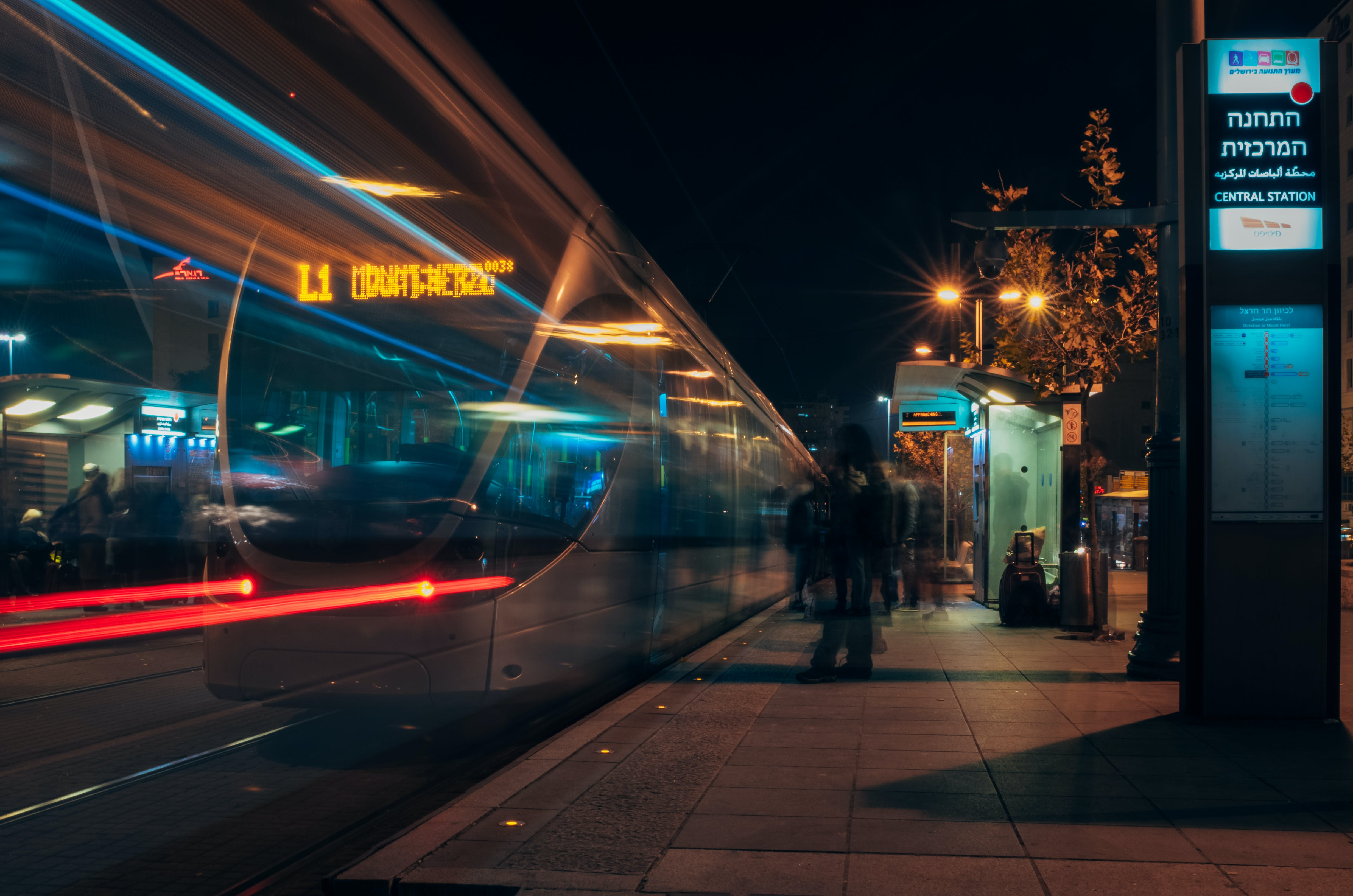 Free stock photo of night, train, public transportation, tram