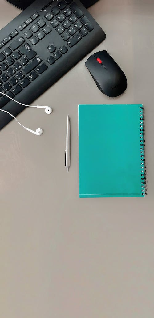 Free stock photo of booklet, desktop, earpiece, headphone