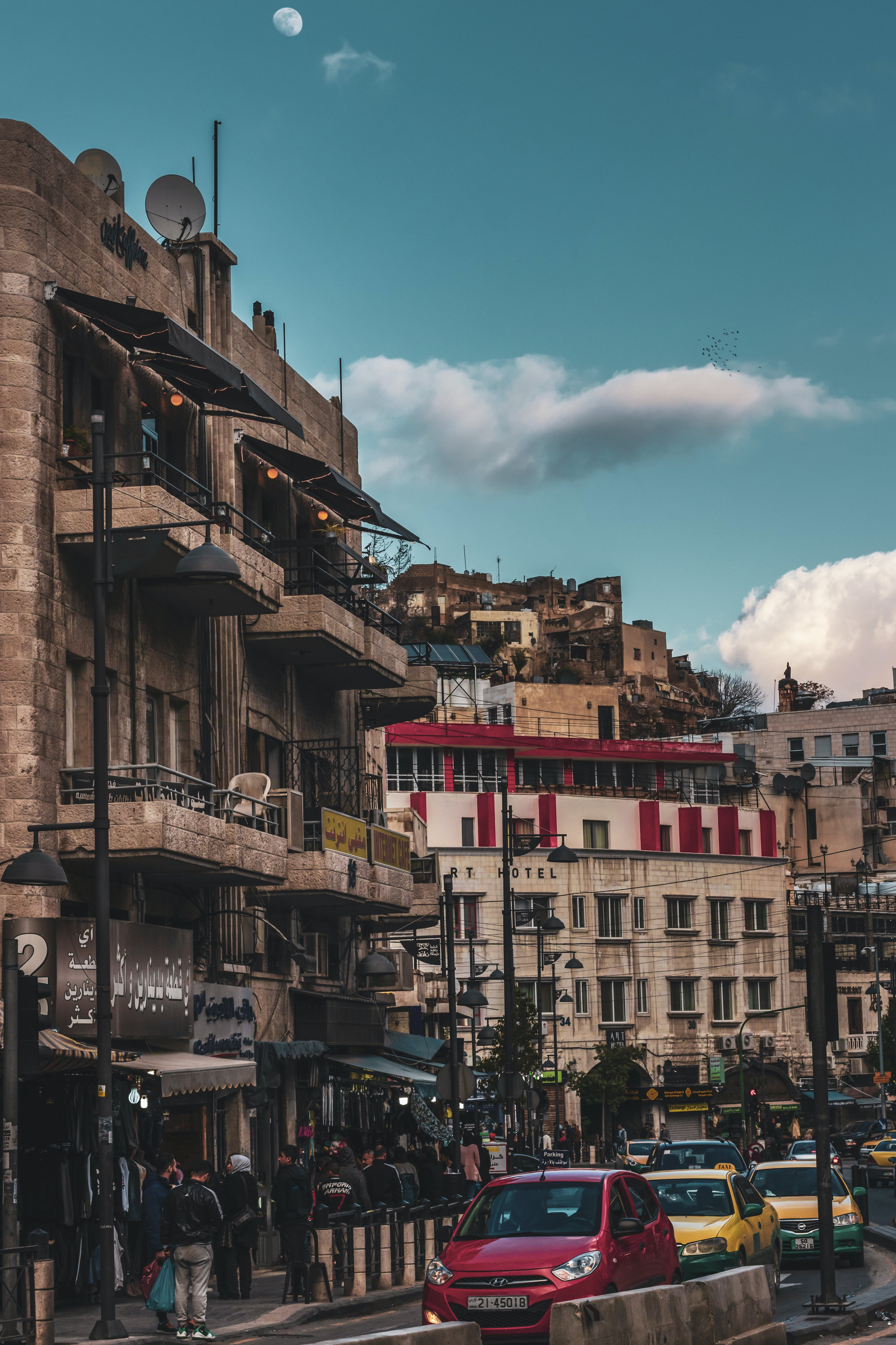 Free stock photo of amman, cars, clouds, hotel